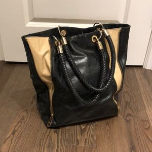 Badgley Mishka Black And Cream Leather Bag